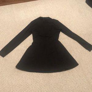 NWOT Black collared skater skirt dress